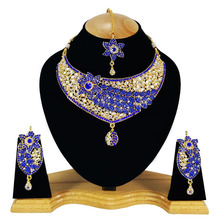 LATEST INDIAN ETHIC INSPIRED BLUE COLOR DESIGNER GOLD JEWELLERY/JEWELRY NECKLACE SET