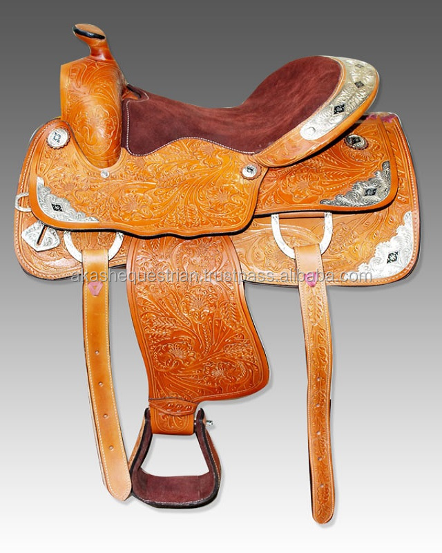 Western Horse Saddle with Silver fitting