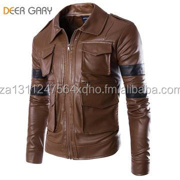 New Men Brand Fashion England Style Leather Jacket Men Coat Multi-pocket Design Men Zipper Motorcycle Jacket Solid Coat