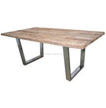 Old sleeper wood slab with steel metal legs dining table