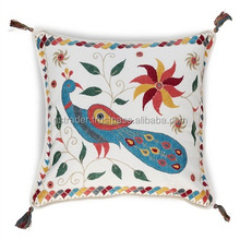 Peacock embroidered The new factory stock cushion cover trade Top Quality Cotton seat cushion Linen creative home cushion