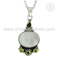 Beautiful silver pendant multi gemstone 925 sterling silver jewellery supplier wholesale