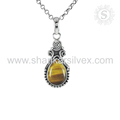 Splendid gift design tiger eye gemstone pendant 925 sterling silver pendants jewelry manufacturing