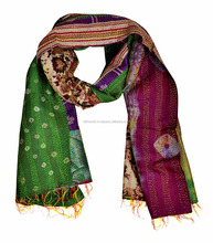 Ethnic Printed Silk Patchwork Design Girls Shawl And Scarv Stole
