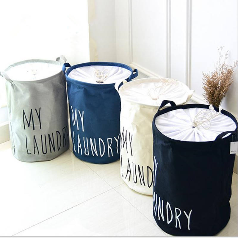 Cotton linen fordable buckets clothes washing laundry basket