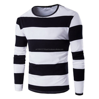 Simple Men's Striped Long Sleeve T-Shirts O-Neck