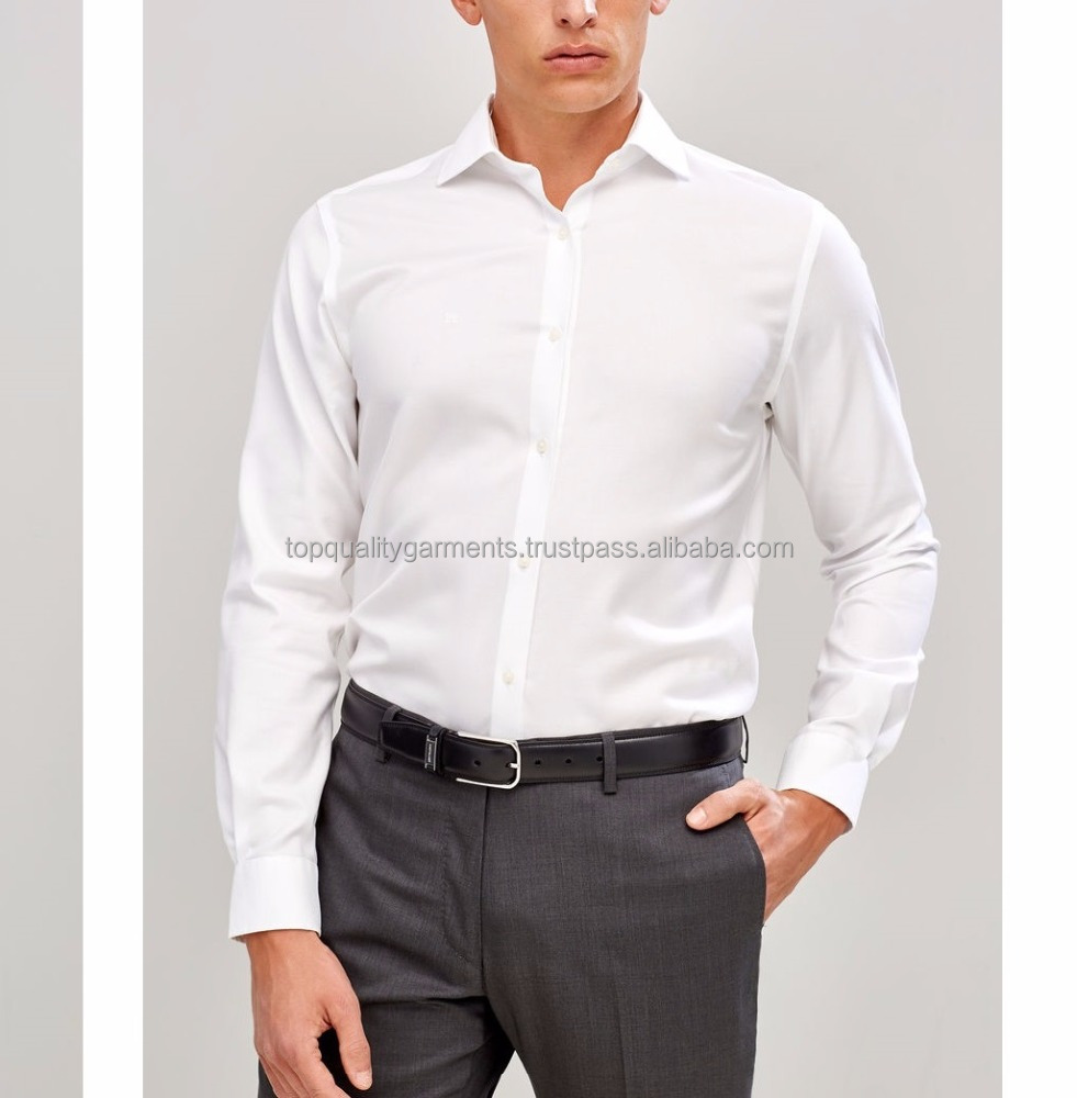 Mens Gents Formal Plain Slim Fit 100% Cotton Oxford Style Shirt Original Branded Long Sleeves White Office Wear Casual 2018
