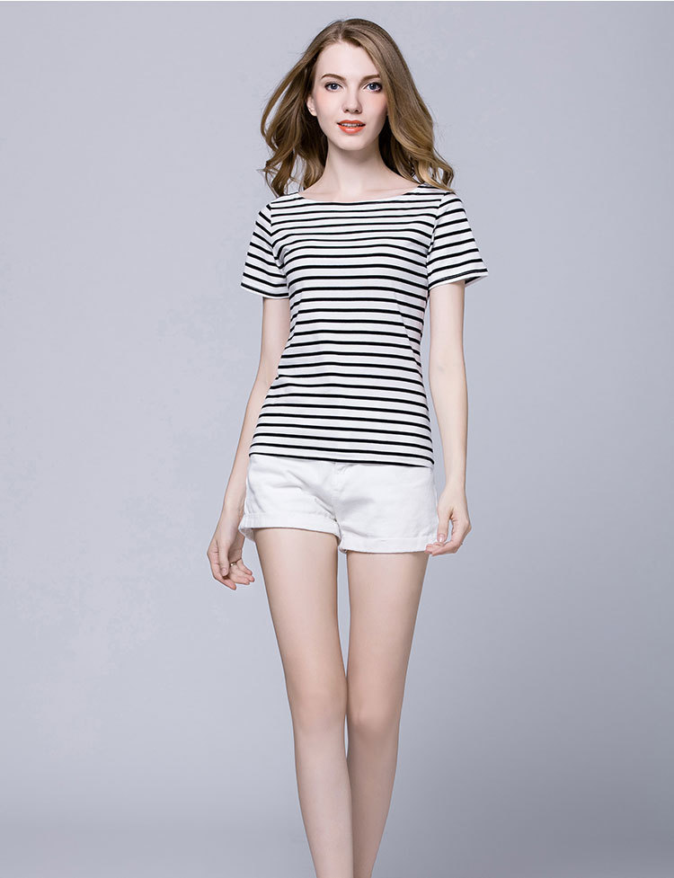 2018 summer new European station word collar striped slim cotton short-sleeved T-shirt women's large size