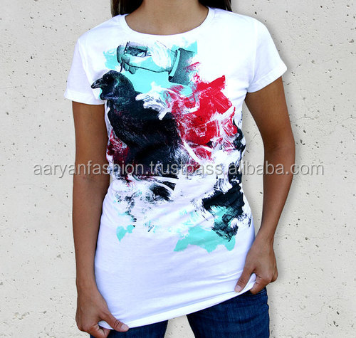 white t shirt in bulk women splash-ink 100%cotton shirt new design
