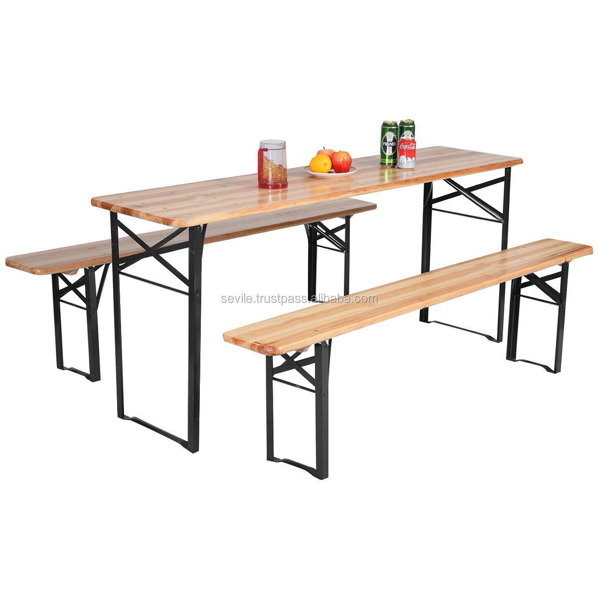 Beer Table Bench Set Folding Wooden Top Picnic Table Patio Garden Furniture