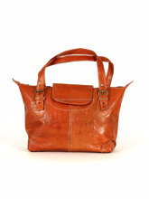 soft Leather handbag , New arrival Tote bag with stitche leather closure .