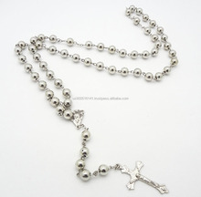 6MM Silver Plated hollow Metal Bead small Rosary
