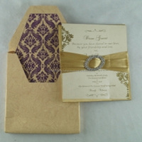 Gold Silk Invitation with brooch and printed invites