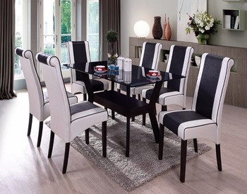 Glass table top white chair dining set