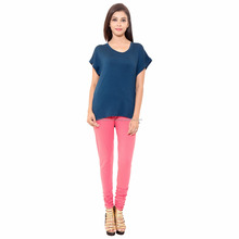 Baby Pink Cotton Lycra Export Quality Legging For Women