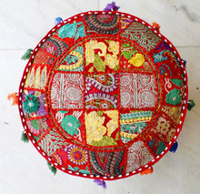 Indian Vintage Handmade patchwork Ottomans Stool