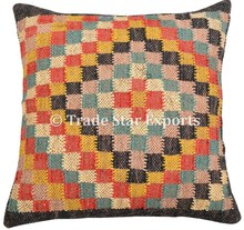 Handmade throw covers kelim hand loom art jute fabric kilim rugs pillow cushion cover
