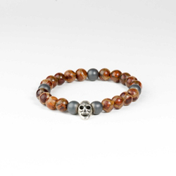 High Quality Best Price Fashionable Men Bracelet with Silver Skull