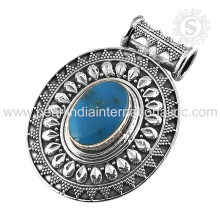 Delicate arizona turquoise gemstone filigree pendants 925 sterling solid silver jewelry handmade silver pendants suppliers