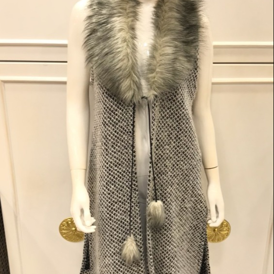 Winter fur vest without sleeve Plus Size