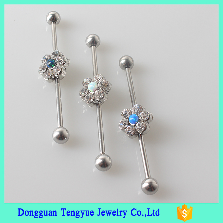 Factory Hot Sale Custom Unique Ear Piercing 16G 316L Industrial Barbell