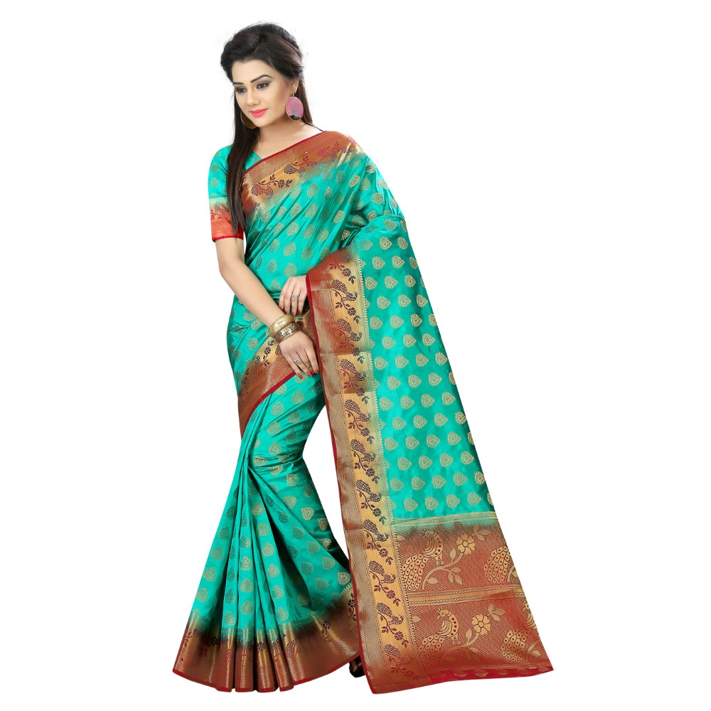 Indian Wear Turquoise Nylon Banarasi Art Silk Saree