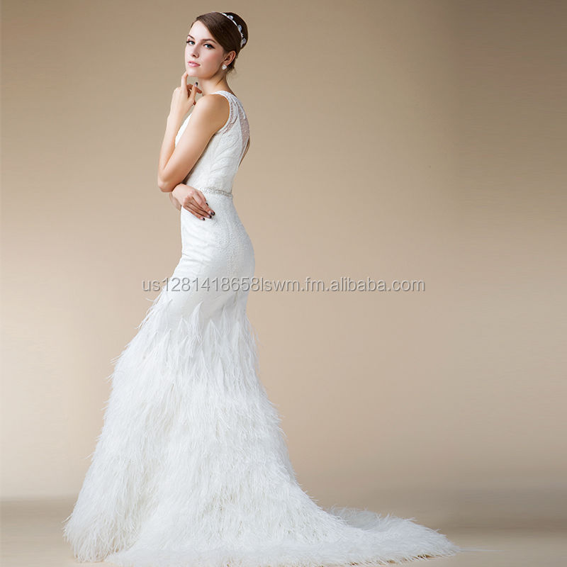 2016 New Mermaid Wedding Bride Dress High Quality with Ostrich feathers