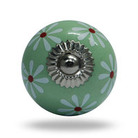 Modern Light Green Round Ceramic Door Knob - White Flower Print Decorative Knob