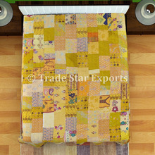 Patola Sarees Silk cotton Fabric Indian Patchwork Quilt Bedspread