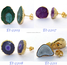 Womens Stud Geode Druzy & Solar Quartz 24k Gold Plated Gemstone Handmade Stud Earrings