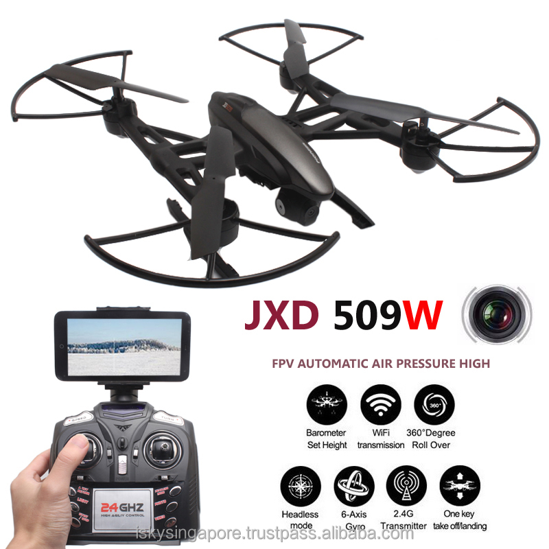 JXD 509W FPV Wifi Set High RC Quadcopter with Camera 2.4G 4CH 6Axis Helicopter Headless Mode Drone MobilePhone Control Toy