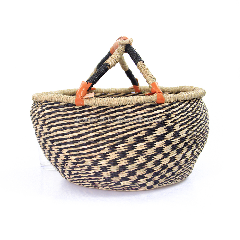 Foldable seagrass shopping market basket, ethnic basket