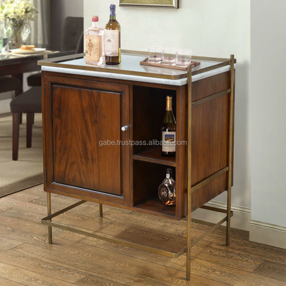 Cabinet Mini Bar with Marble Top Mahogany Wood Furniture, American Wood Furniture Style, Hotel Furniture Project