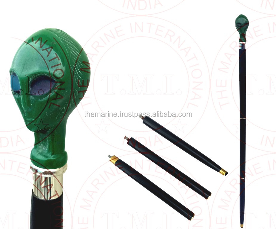 Green MOP Head Wooden Walking Stick ~ Collectible Walking Cane