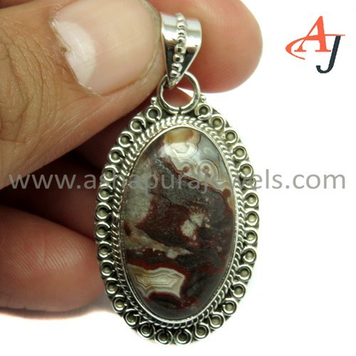 Stunning Collection Picasso Jasper Gemstone 925 Sterling Silver Pendant, Fashion Silver Jewelry, Gemstone Jewelry India