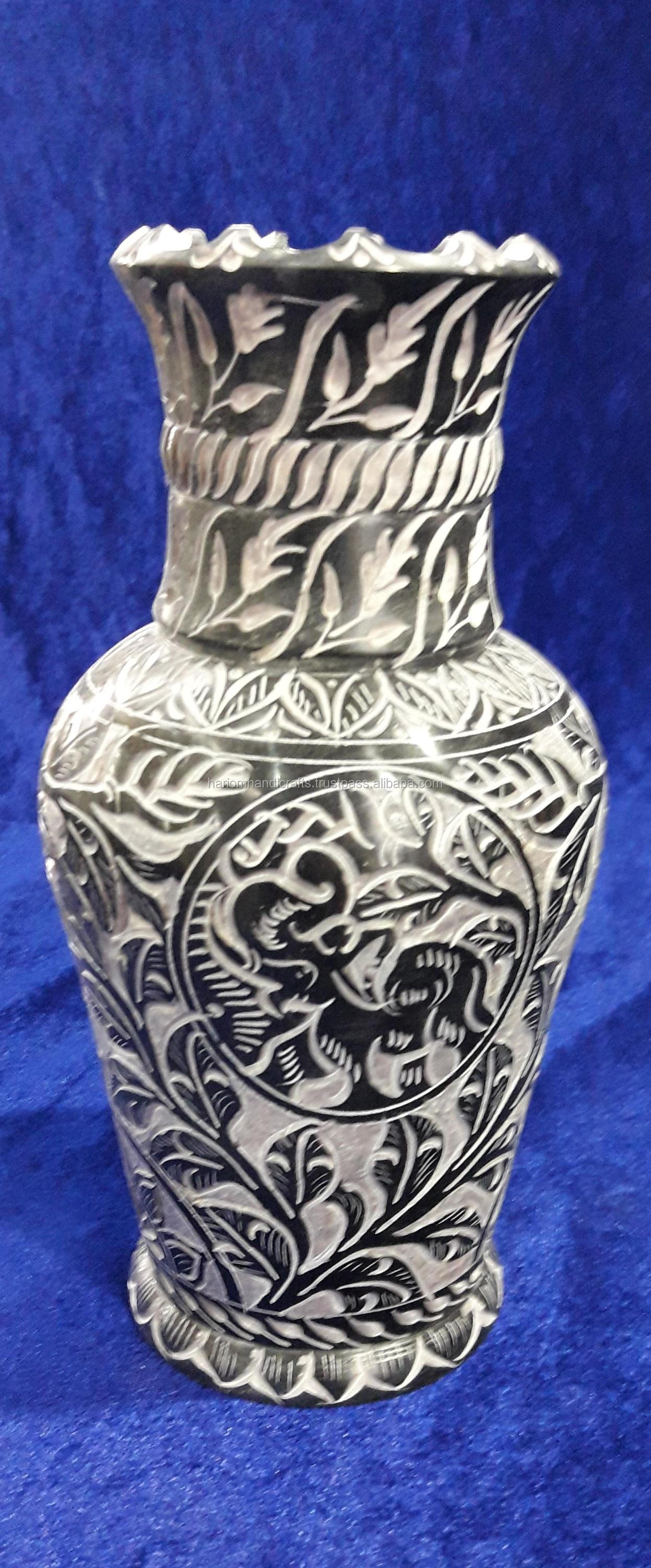 Black Marble Flower Vase Handmade Work Decor