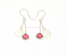 Beautiful Ruby Quartz 8 mm Heart Shape Silver Plated Jewelry Earrings