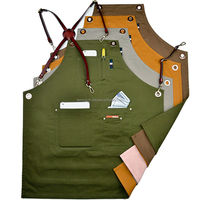 Double Sided Multicolored Cotton Bib Aprons With Leather X Strap & Pockets Barber Salon Aprons Hairdressing Unisex Aprons