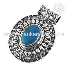 Superlunary arizona turquoise silver pendant 925 sterling silver gemstone pendant wholesale jewellery supplier
