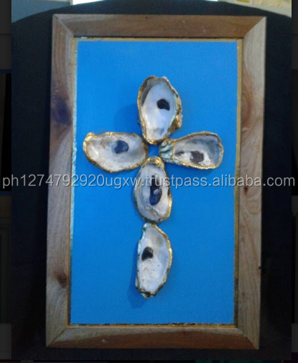 Philippine Handicraft Oyster shell Cross with Gold Trim Wall Plaque