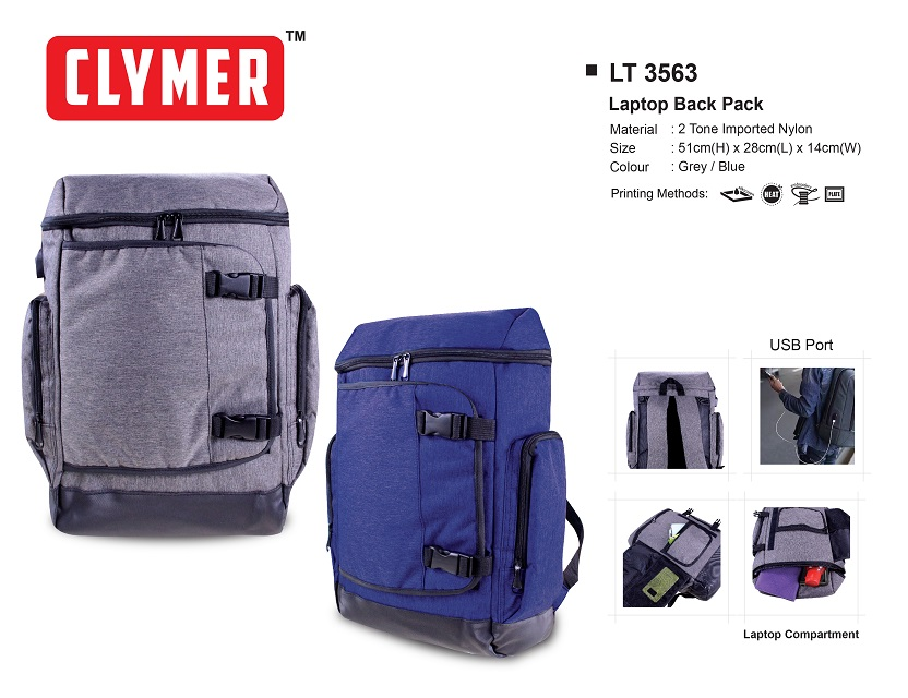 NEW Style Clymer Nylon Laptop Back Pack with USB port