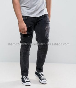 Skinny Jeans With Biker Zip And Rips Details In Washed Black