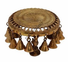 Antique Brass Hindu Spiritual religious temple puja Chowki with bells 4""