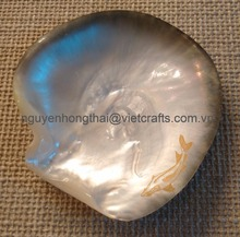 Seashell plate, mother of pearl plate, caviar dish with gold sturgeon engraved