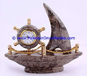 MARBLE CLOCKS SHIP SHAPE HANDCARVED NATURAL STONE