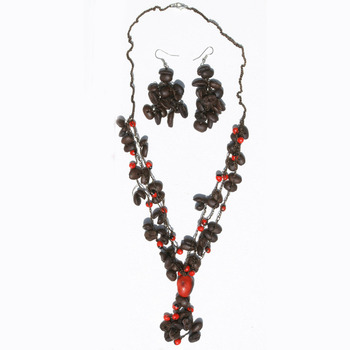 Coffee Bean Necklace and Earring Set Peruvian Handmade Beaded Jewellery Set