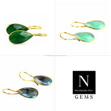 Smooth Bezel Earrings Pears Shape 24k Gold Plated, 35x11mm, Gemstone Connector Earring