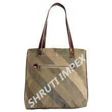 Wholesale Indian Handmade Fashion Canvas Tote leather Handbag, Cotton Canvas Tote Bag