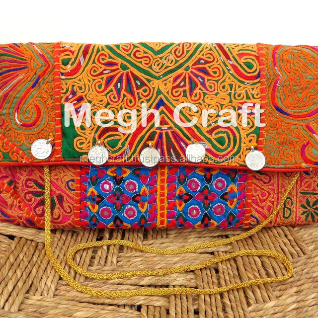 INDIAN COTTON EMBROIDERED VINTAGE BANJARA MIRROR AND COIN WORKS HAND BAG PURSE CLUTCH BAG 2017