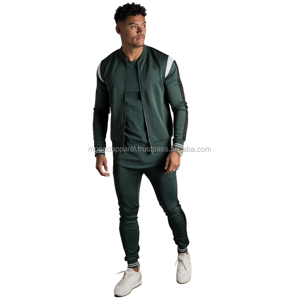Custom embroidered logo polo tracksuit polyester sports tracksuit